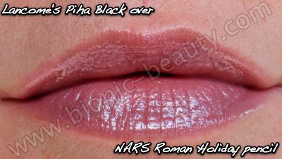 NARS Roman Holiday velvet matte lip pencil with Lancome's Piha Black gloss