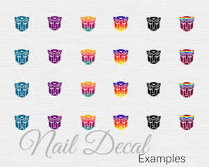DIY nail decals featuring the Transformer Autobots